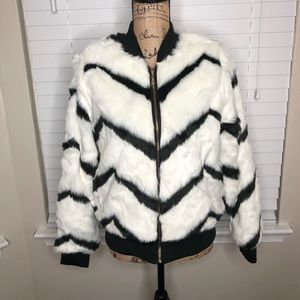Say What? Faux Fur Bomber Size Medium NEW!